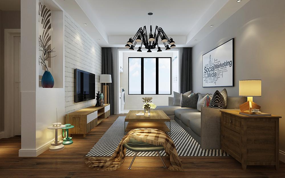客厅影视墙:把原有的轻体墙拆除,做了镂空的隔断和储物柜增加储物和通透感。